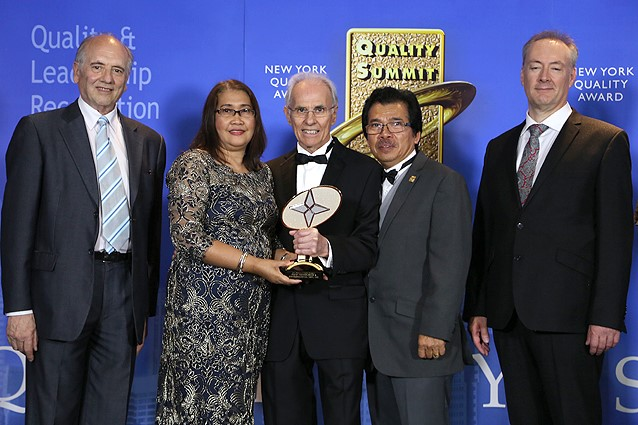 Fluid Technologies and Environmental Management, Inc. won the International Quality Summit Award in the Gold category in New York in the presence of leaders and representatives from 5 continents at the International Quality Summit Convention. The prestigious award is presented in recognition of business excellence and innovation. From left to right: Prof. Dr. Alfonso C. Casal, Scientific Director of BID, Eden Culala, Chairman & CEO of Fluid Technologies and Environmental Management, Inc.,  Jose E. Prieto, President and CEO of BID, Rodrigo M. Culala, COO of Fluid Technologies and Environmental Management, Inc. Devin Savage, Head of Quality Research and Dr. Alla Ignashchenkova, Research Associate Neuroscience of University of Tübingen.
